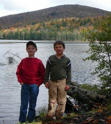 Eric& Nathan in front of Kibby Pond