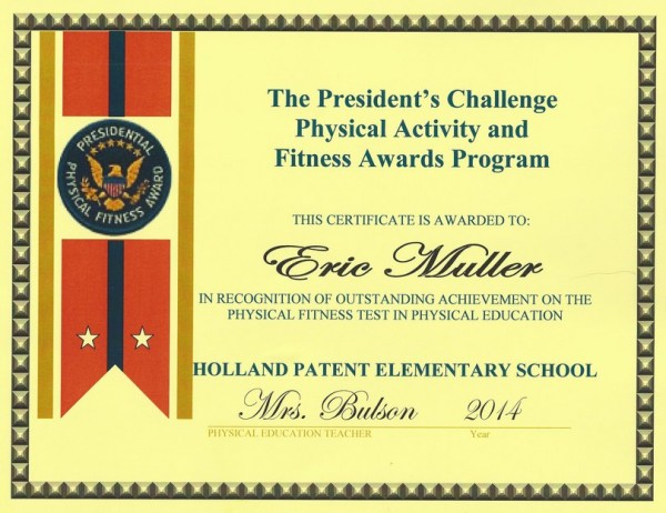 President's Fitness Award (5th Grade Moving Up Ceremony)