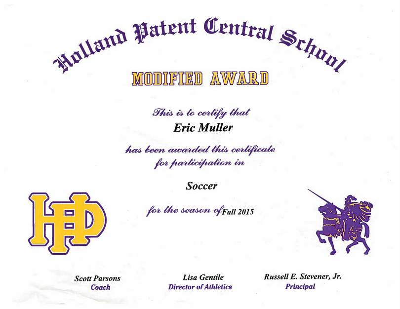 Eric Muller Modified Soccer Certificate