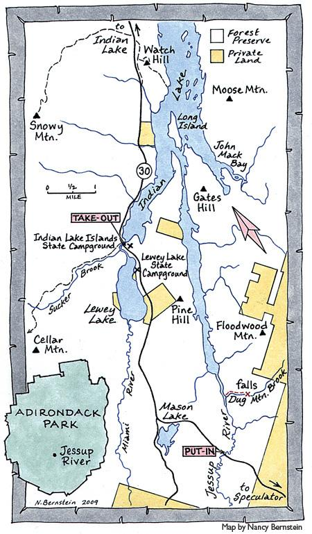 Map of Jessup to Indian Lake